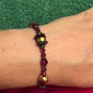 Magenta stone/glass bracelet